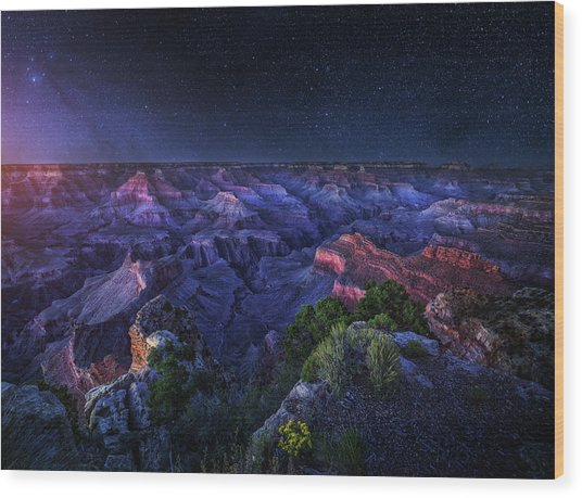 Grand Canyon Night Wood Print
