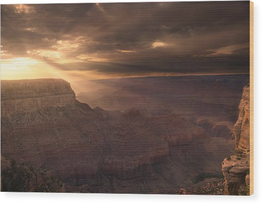 Grand Canyon Red Sunset Wood Print