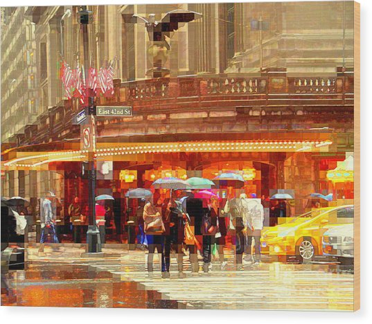 Grand Central Station In The Rain - New York Wood Print