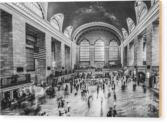 Grand Central Station -pano Bw Wood Print