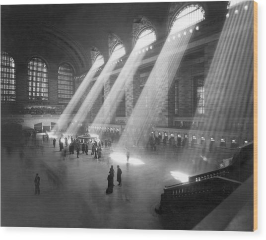 Grand Central Station Sunbeams Wood Print