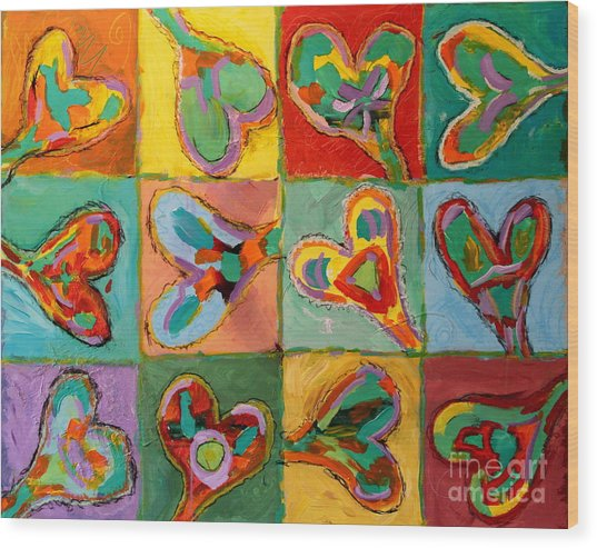 Grand Hearts Wood Print by Kelly Athena