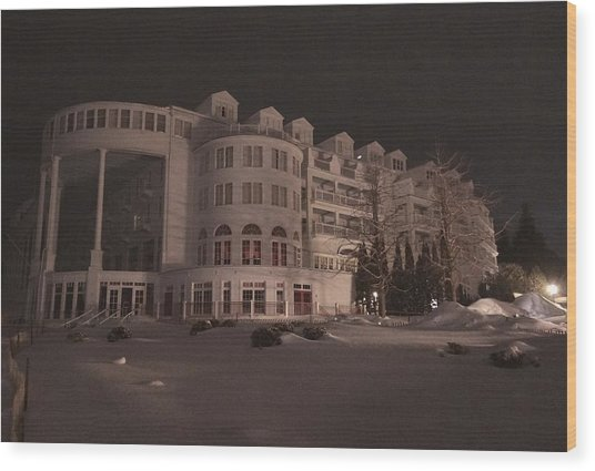Grand Hotel On A Winter Night Wood Print