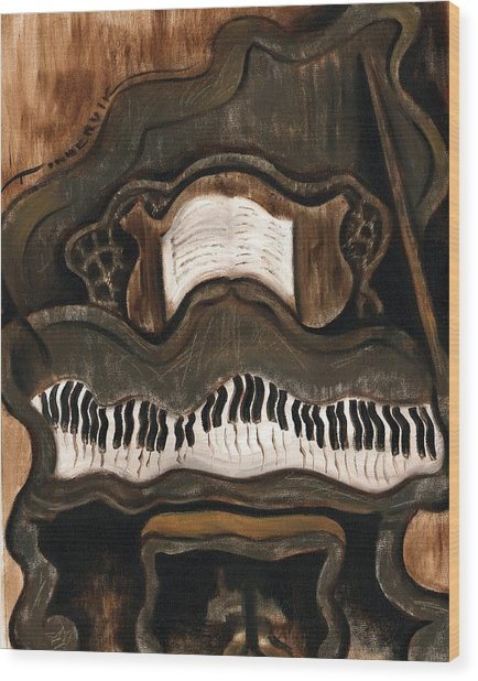 Tommervik Abstract Grand Piano Art Print Wood Print by Tommervik