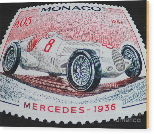 Grand Prix De Monaco 1936 Vintage Postage Stamp Print Wood Print