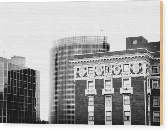 Grand Rapids 15 Black And White Wood Print