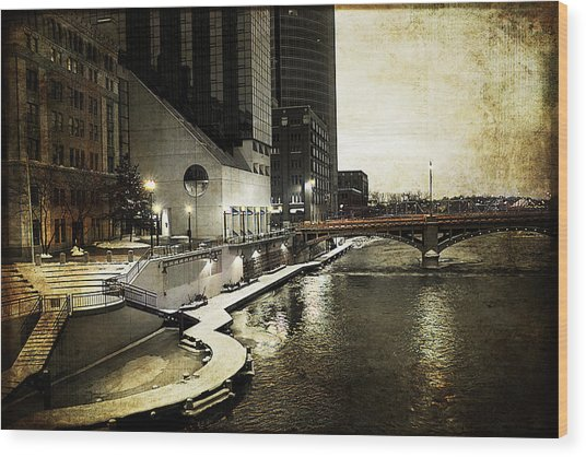 Grand Rapids Grand River Wood Print