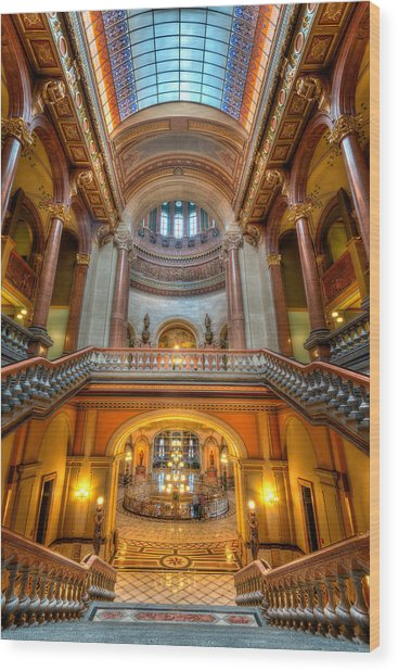 Grand Staircase Illinois State Capitol Wood Print
