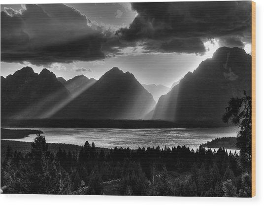 Grand Teton Light Beams Wood Print