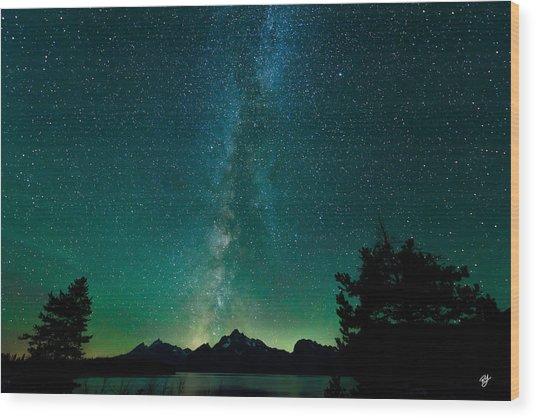 Grand Teton Stars Wood Print by Robert Yone