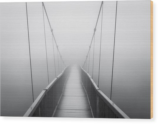Grandfather Mountain Heavy Fog - Bridge To Nowhere Wood Print