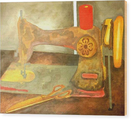 Grandma Sewing Machine Wood Print