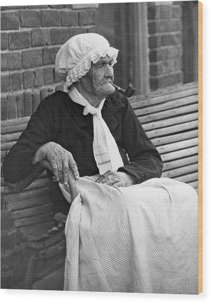Grandma Smokes Pipe At Age 92 Wood Print