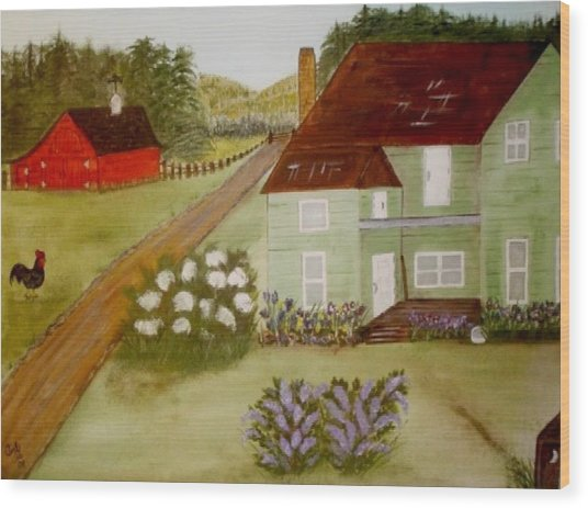 Grandmas Farm Wood Print