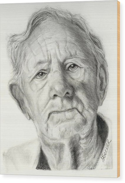 Grandpa Full Of Grace Drawing Wood Print