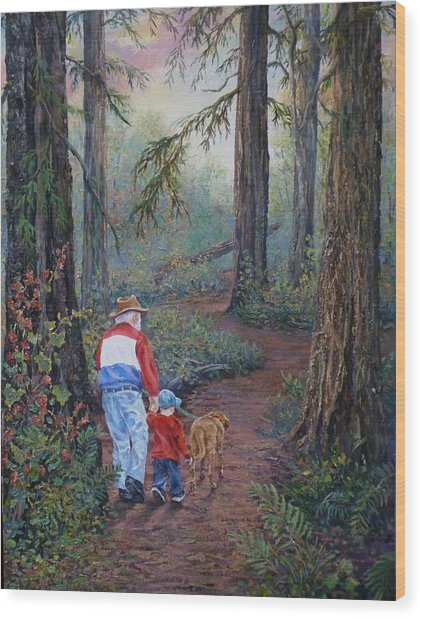Grandpa's Pathway  Wood Print