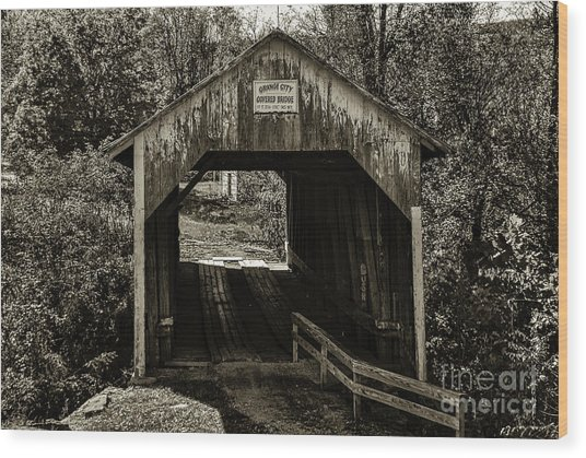 Grange City Covered Bridge - Sepia Wood Print