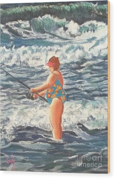 Granny Surf Fishing Wood Print by Frank Giordano