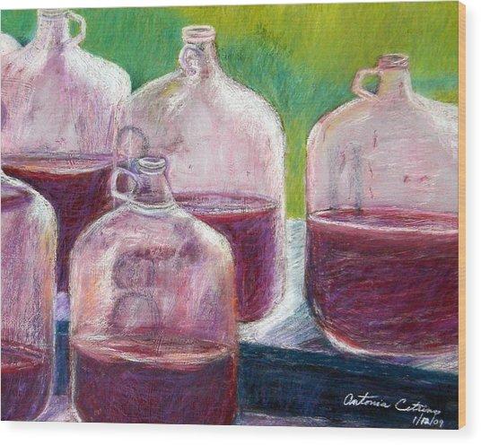 Grape Stomp Residuals Pastel Wood Print