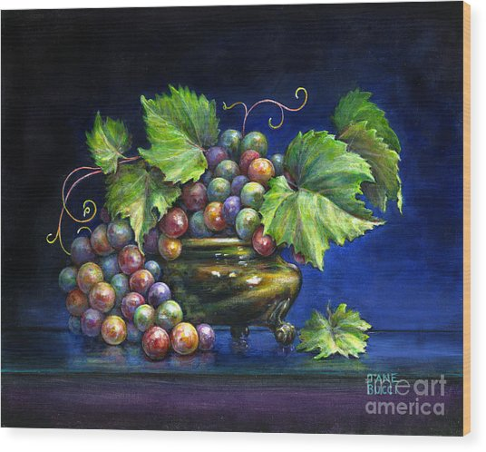 Grapes In A Footed Bowl Wood Print