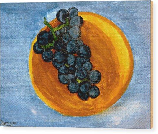 Grapes In Bowl Wood Print
