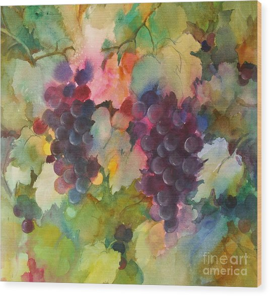 Grapes In Light Wood Print