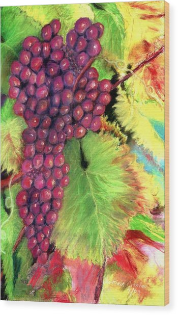 Grapes On Vine Pastel Wood Print