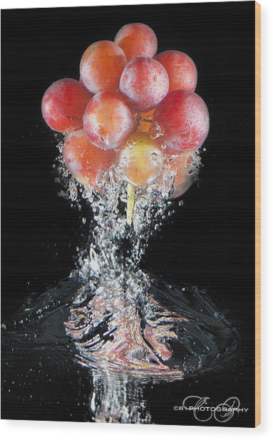 Grapes Splash Wood Print