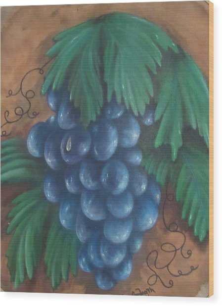 Grapes With Dewdrop Wood Print