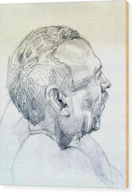 Graphite Portrait Sketch Of A Man In Profile Wood Print