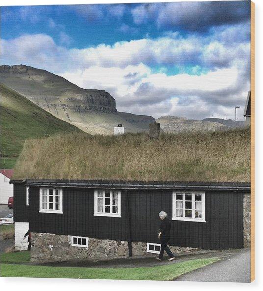 Grass Roof House In Faroe Islands Wood Print