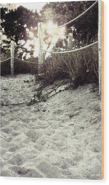Grassy Beach Post Entrance At Sunset 2 Wood Print