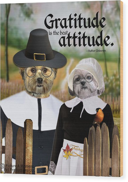 Wood Print featuring the digital art Gratitude Is The Best Attitude-1 by Kathy Tarochione