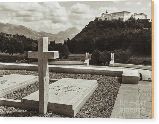 Gravestones In The Polish Cemetery Standing Proud Towards The Ab Wood Print