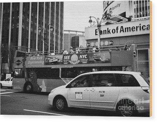 Gray Line New York Sightseeing Bus And Yellow Mpv Taxi Cab On 7th Avenue New York City Wood Print by Joe Fox