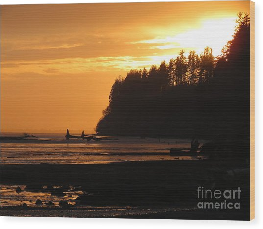 Grays Harbor Sunset I Wood Print