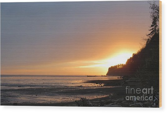 Grays Harbor Sunset II Wood Print