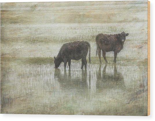 Grazin In The Pond Wood Print by Ramona Murdock