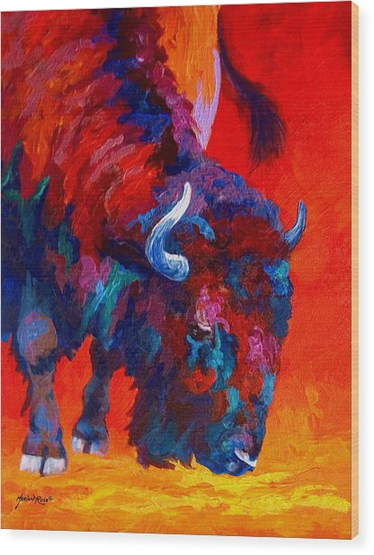 Grazing Bison Wood Print