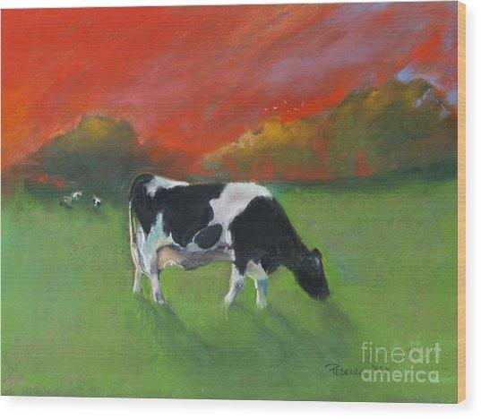 Grazing Cow Wood Print