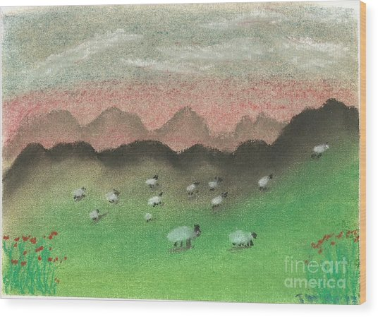 Grazing In The Hills Wood Print