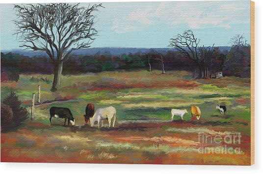 Grazing In The Pasture Wood Print by Sandra Aguirre