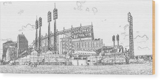 Great American Ball Park Line Wood Print