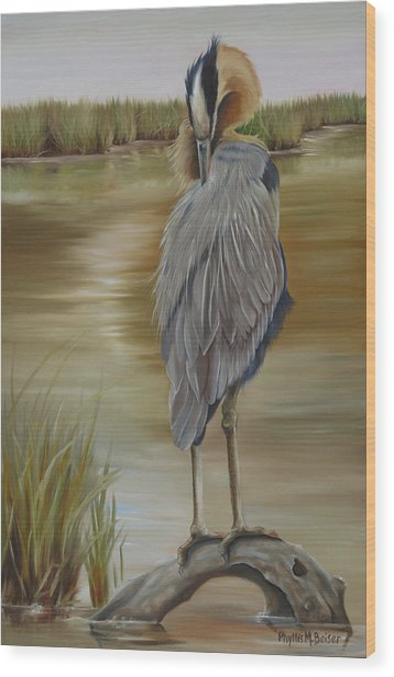 Great Blue Heron At Half Moon Island Wood Print