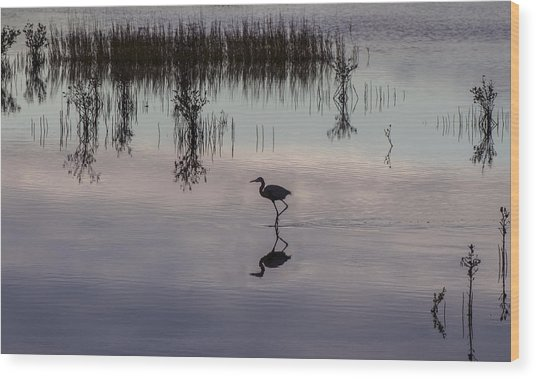 Great Blue Heron At Sundown Wood Print