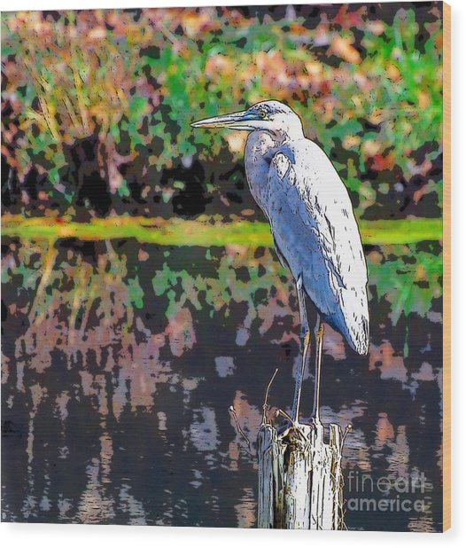 Great Blue Heron At The Pond Wood Print