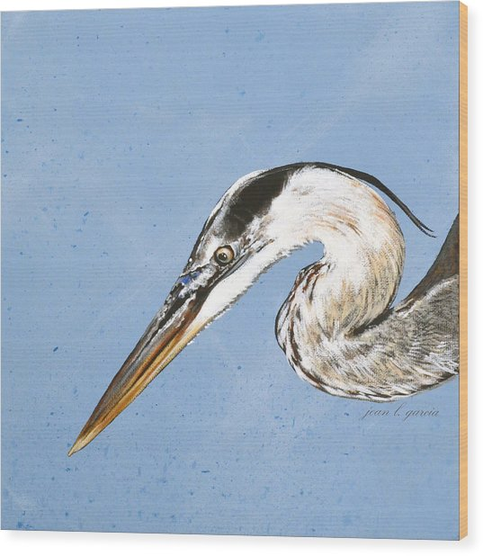 Great Blue Tyler Wood Print