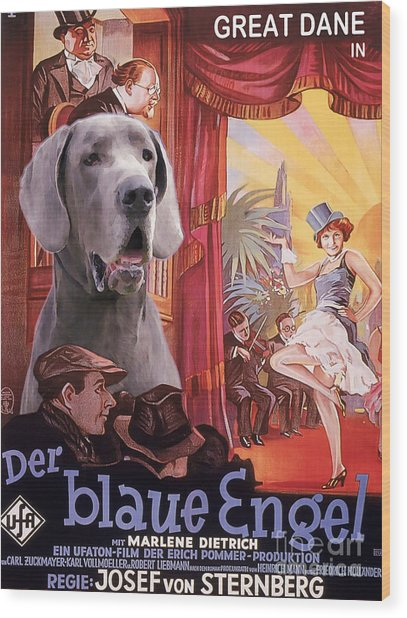 Great Dane Art Canvas Print - Der Blaue Engel Movie Poster Wood Print