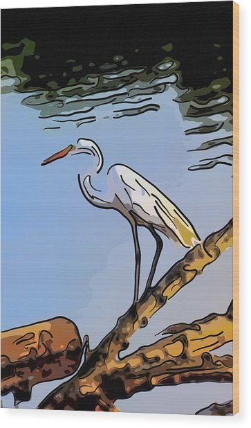 Great Egret Fishing Abstract Wood Print