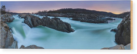 Great Falls By Full Moon Wood Print by Andrew Fritz